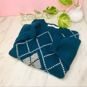 Argyle Plaid Cropped Oversized Sweater